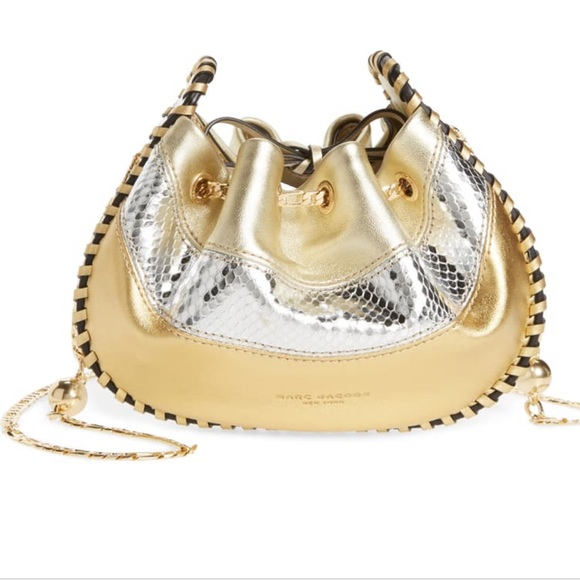 Marc Jacobs Handbags - MARC JACOBS gold crossbody sway leather chain bag